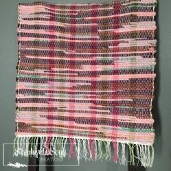 Handwoven rug inspired by purple coneflower - shepherdssongcreations.com